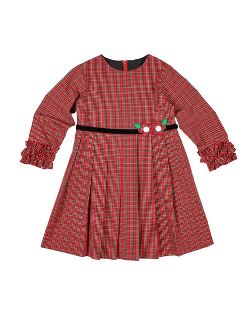 Red Plaid Dress with Ruffled Cuffs - Florence Eiseman