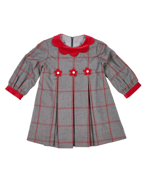 Grey/Red Windowpane Dress - Florence Eiseman
