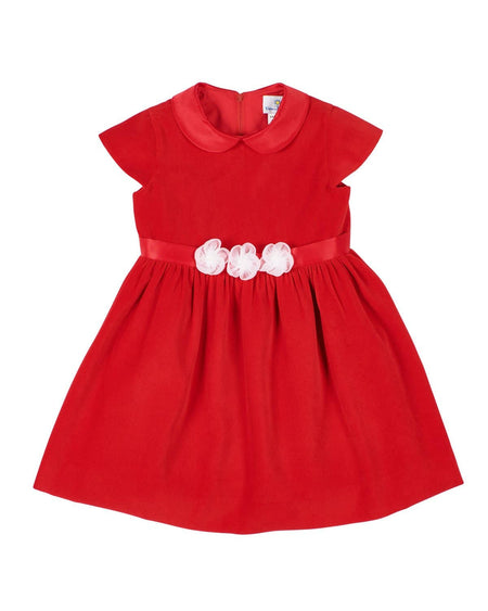 Red Stripe Knit Dress with Ruffles