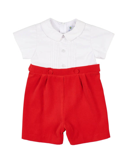 Red and White Stripe Knit Polo Shirt