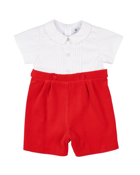 Boys Suit with Red Velvet Short - Florence Eiseman