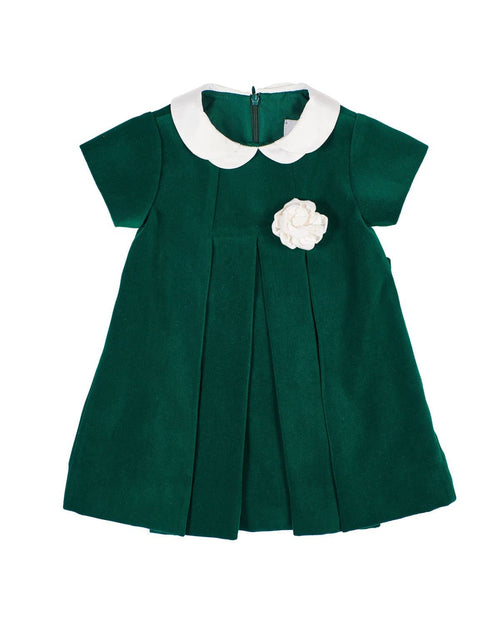 Green Velvet Dress with Rose - Florence Eiseman