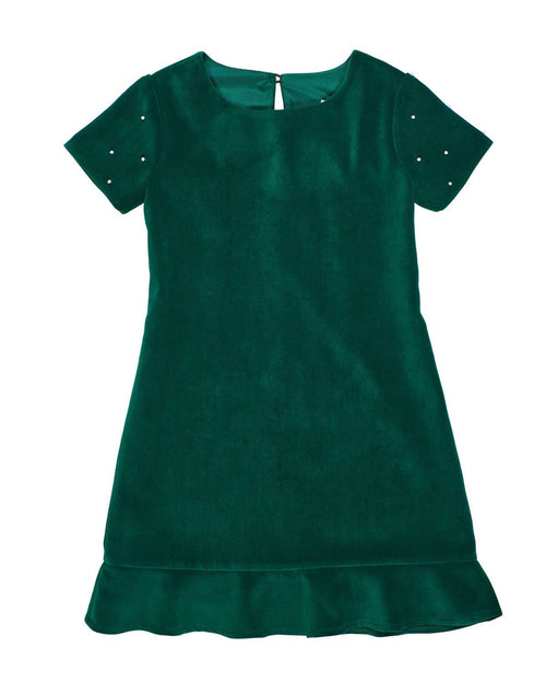 Green Velvet Dress with Pearls - Florence Eiseman