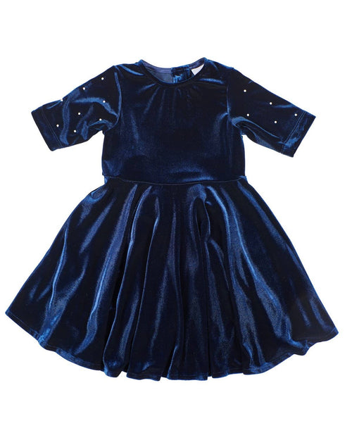 Navy Velvet Dress with Pearls - Florence Eiseman