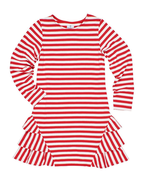Red Stripe Knit Dress with Ruffles - Florence Eiseman