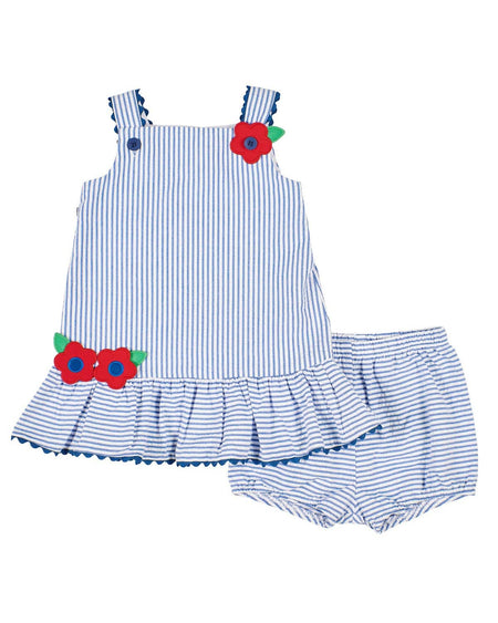 Blue Stripe Seersucker Girls Swim Suit