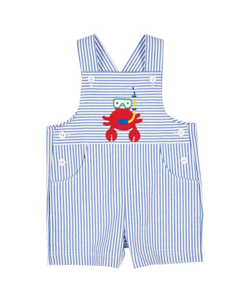 Blue Seersucker Shortall with Scuba Crab - Florence Eiseman
