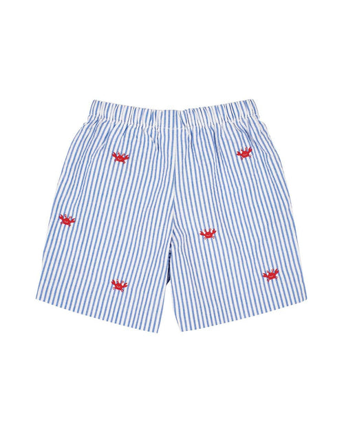 Blue Seersucker Shorts with Embroidered Crabs - Florence Eiseman