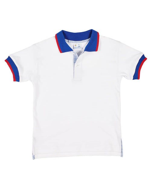 Boys White Polo with Seersucker Trim - Florence Eiseman