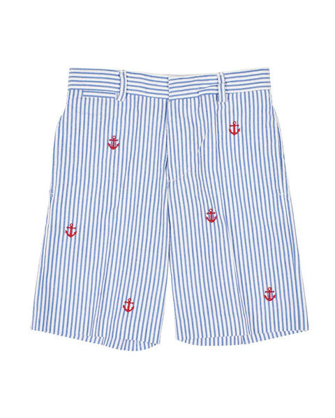 Blue Seersucker Shorts with Embroidered Anchors - Florence Eiseman