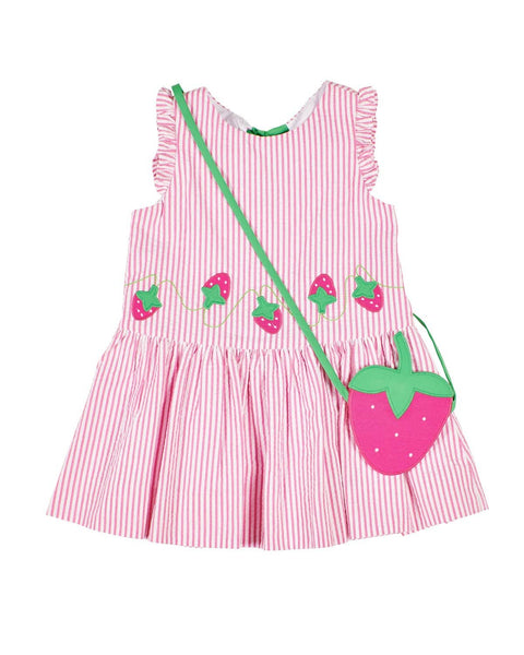 Pink Stripe Dress with Strawberry Appliques and Purse - Florence Eiseman