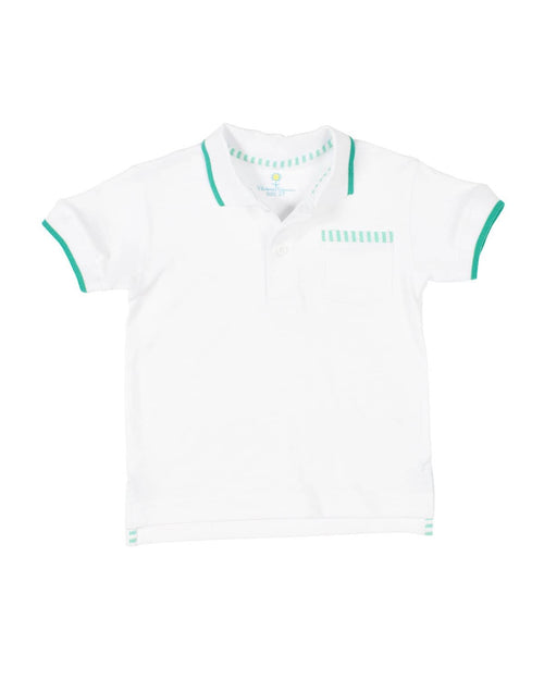 Polo Shirt with Seersucker Trim - Florence Eiseman