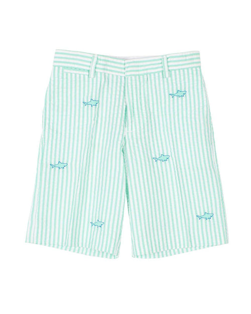 Jade Seersucker Shorts with Embroidered Sharks - Florence Eiseman