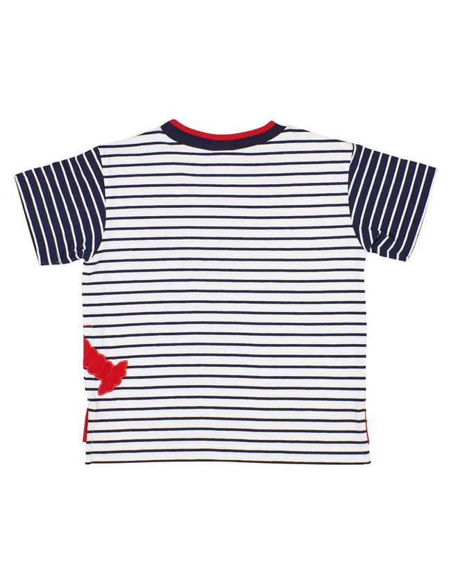 Navy Stripe T-shirt with Lobster Applique - Florence Eiseman