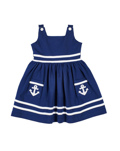Girls Navy Nautical Knit Dress - Florence Eiseman