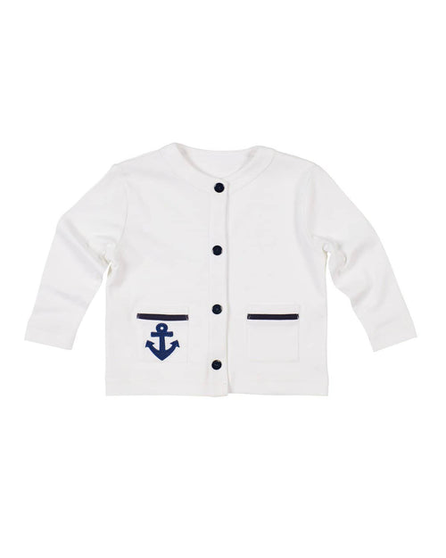 White Knit Cardigan with Anchor - Florence Eiseman
