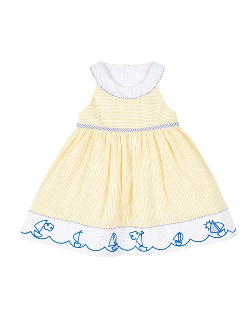 Girls Yellow Seersucker Dress with Embroidered Sailboats - Florence Eiseman