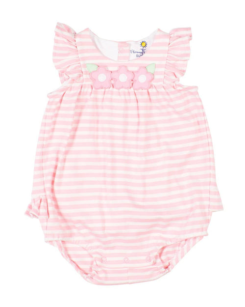 Pink Stripe Romper With Appliqued Flowers - Florence Eiseman