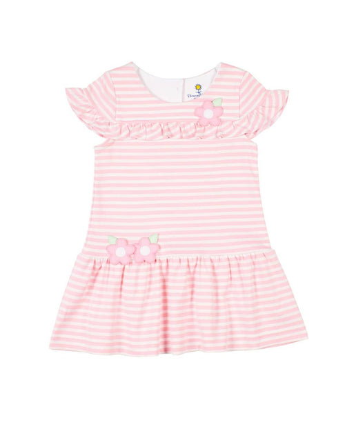 Pink Stripe Knit Dress with Ruffles - Florence Eiseman