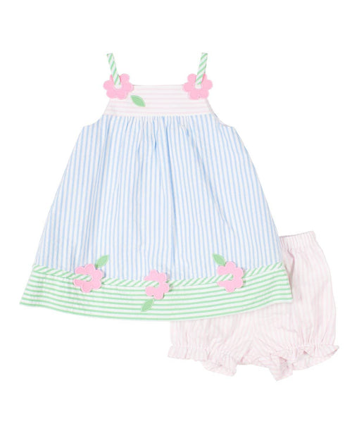 Baby Girls Pastel Seersucker Dress and Bloomer - Florence Eiseman