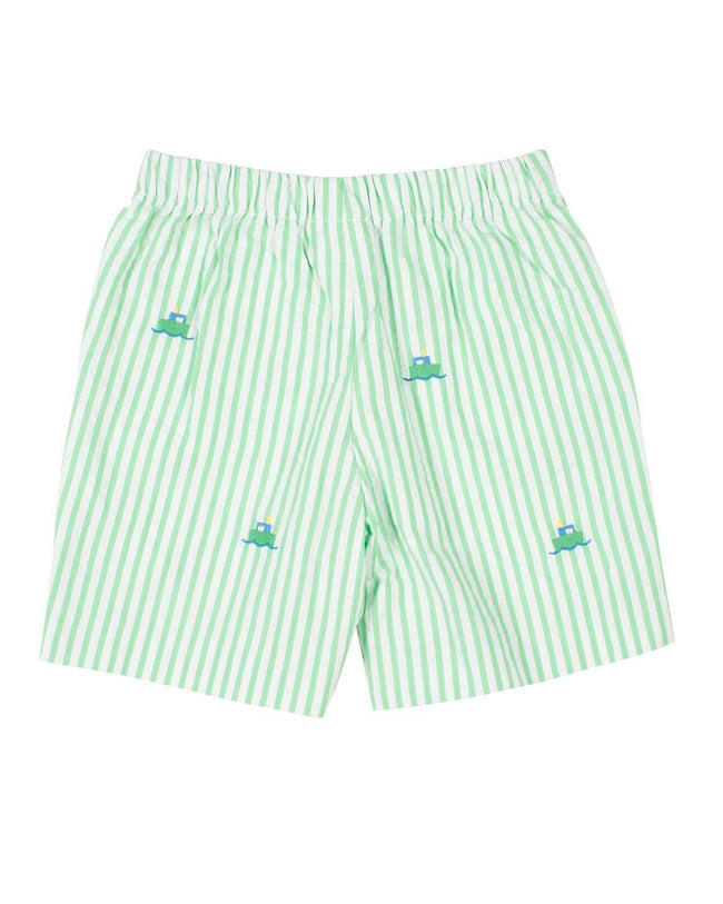 Green Seersucker Shorts with Tugboats - Florence Eiseman