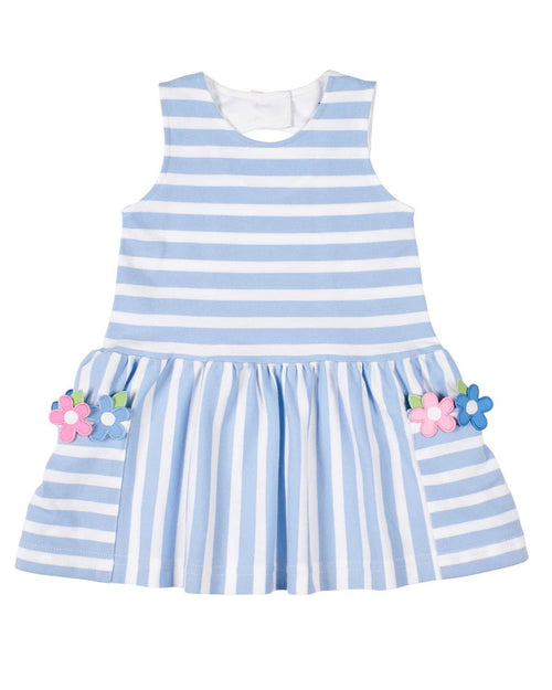 Blue Stripe Pique Knit Dress With Flowers - Florence Eiseman