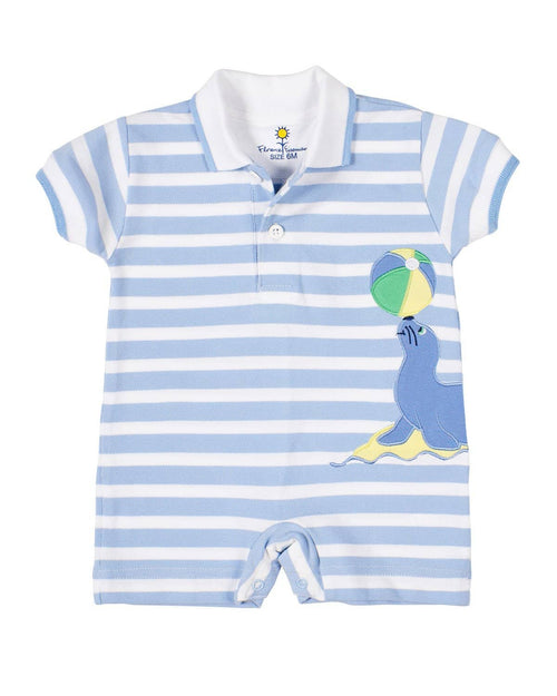 Blue Stripe Pique Knit Shortall with Seal - Florence Eiseman