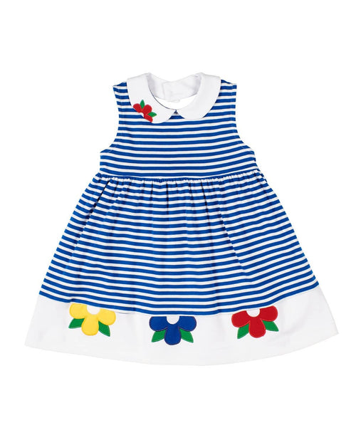 Royal Stripe Knit Dress With Appliqued Flowers - Florence Eiseman