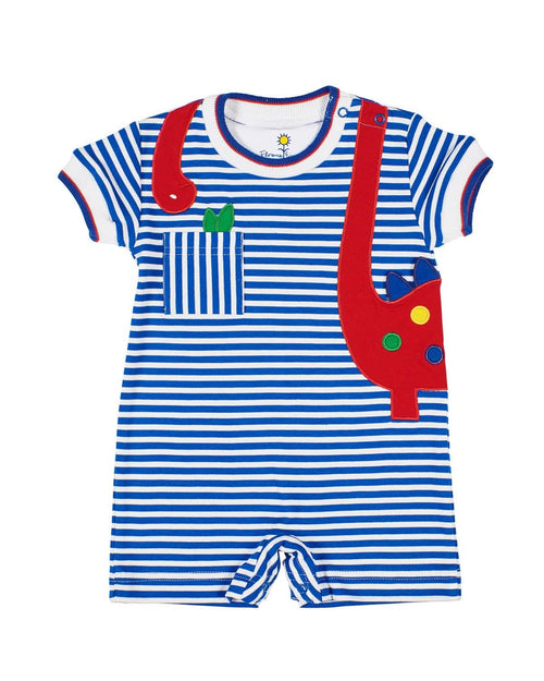 Royal Stripe Romper with Dinosaur Applique - Florence Eiseman