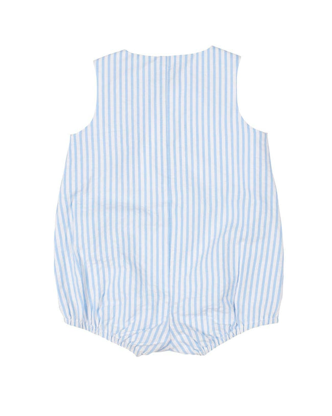 Light Blue Seersucker Baby Boy Romper with Sailboat - Florence Eiseman