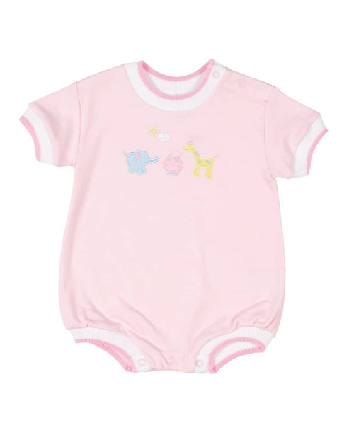 Pink Knit Romper with Zoo Animals - Florence Eiseman
