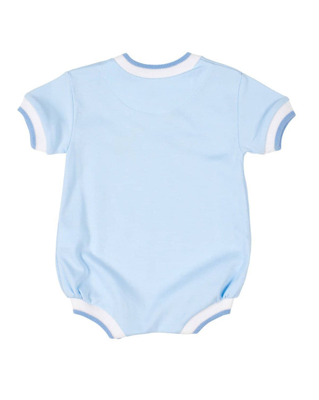 Light Blue Knit Romper with Zoo Animals - Florence Eiseman