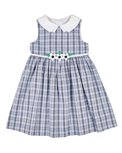 Girls Navy Plaid Dress with Appliqued Flowers - Florence Eiseman
