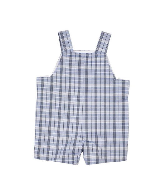 Boys Navy Plaid Shortall with Anchor - Florence Eiseman