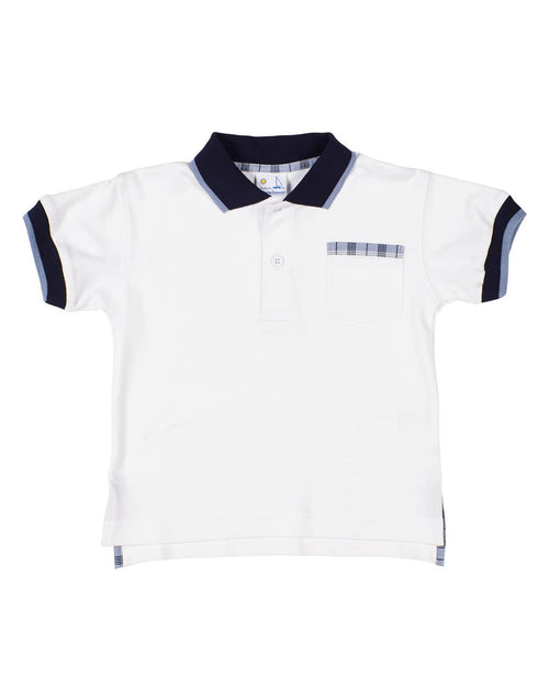 Boys White Polo with Plaid Trim - Florence Eiseman
