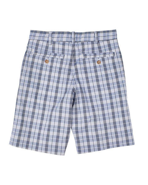 Boys Navy Plaid Fly Front Short - Florence Eiseman