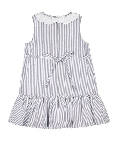 Grey Stripe Seersucker Dress with Appliqued Flowers - Florence Eiseman