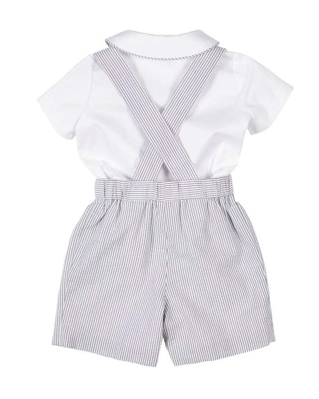 Grey Seersucker Suspender Short and Shirt Set - Florence Eiseman