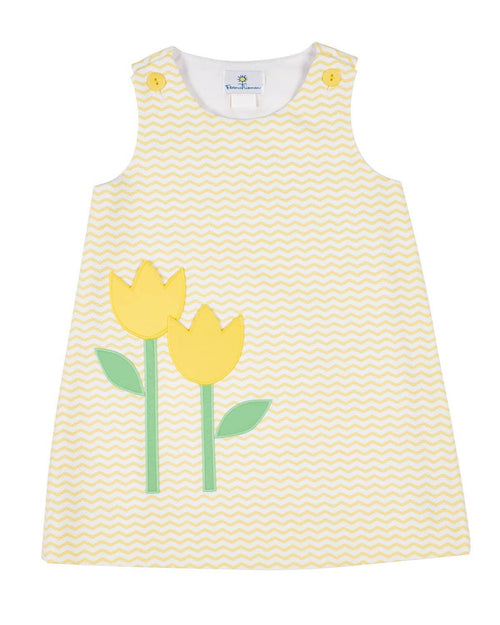 Yellow Zig Zag Printed Pique Dress with Tulip Pockets - Florence Eiseman