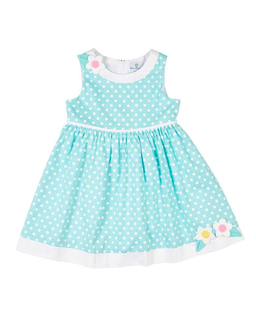 Aqua Polka Dot Sundress with Appliqued Flowers - Florence Eiseman