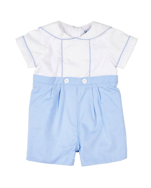Tiny Blue Check Sailor Shortall - Florence Eiseman