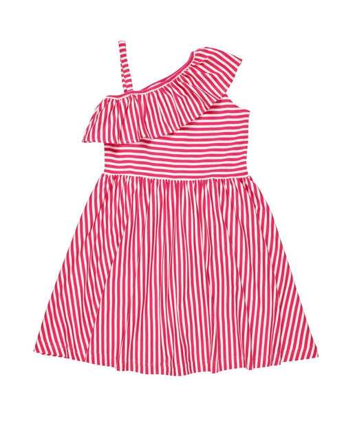 Pink Stripe Knit Dress with Asymmetrical  Ruffle - Florence Eiseman
