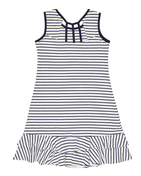 Navy Stripe Dress with Double Ruffle Hem - Florence Eiseman