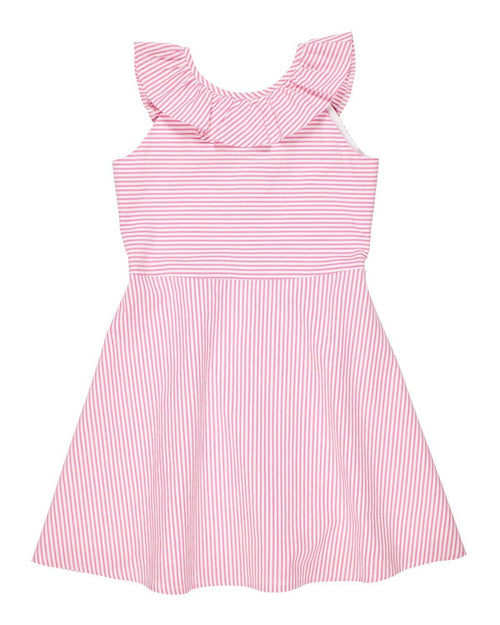 Pink Seersucker Ruffle Neck Dress - Florence Eiseman