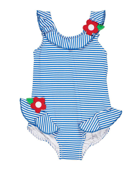Girls Aqua Polka Dot Swimsuit with Appliqued Flowers