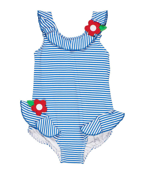 Blue Stripe Seersucker Girls Swim Suit - Florence Eiseman