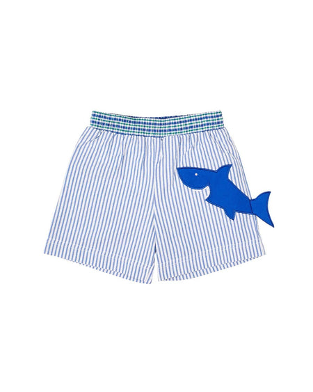 Blue Seersucker Shorts with Embroidered Crabs