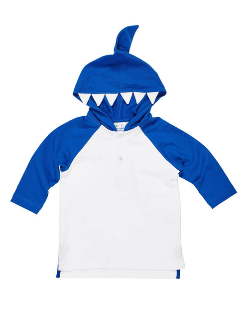 White and Blue Interlock Knit Shark Cover-up - Florence Eiseman
