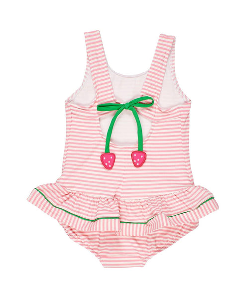 Pink Stripe Seersucker Girls Swim Suit - Florence Eiseman
