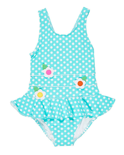 Girls Aqua Polka Dot Swimsuit with Appliqued Flowers - Florence Eiseman
